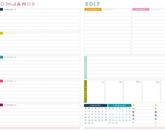 "2017 Junior Size Weekly Planner Printable Pages - INSTANT DOWNLOAD PDF - Horizontal Layout  (5.5"" x 8.5"")"