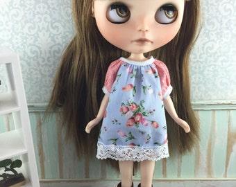 Blythe Smock Dress - Blue and Apricot Floral