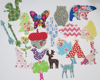 20 Baby Girl Woodland Iron on Appliques Baby Shower Activity