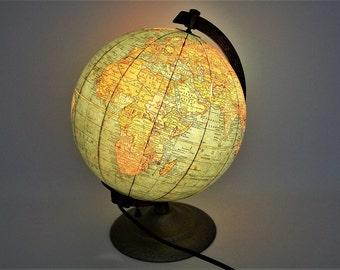 "Vintage World Globe 1957 Illuminated Glass Cram's Deluxe 8"" Scarce"