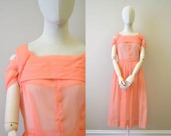 1950s Sheer Watermelon Pink Dress