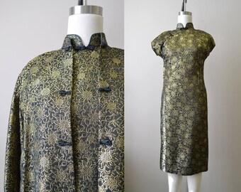 1960s Suzy Wong Black Brocade Cheongsam and Coat