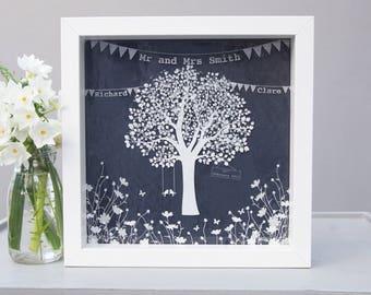 Personalised love birds wedding  / anniversary tree, wedding gift, anniversary present, handmade fused glass, personalised wedding gift