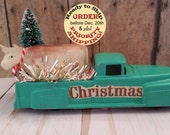 Antique truck with bottle brush trees,Cow truck,Farm Christmas