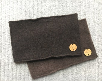 Cashmere Headband CHOCOLATE BROWN Ear Warmer Head Band Upcycled Cashmere Sweater Unisex Gift Under 20 for Men or Women by WormeWoole