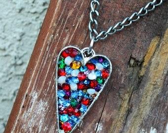 Vintage Rhinestone Heart  Cyber Monday Black Friday Paris Chic Bohemian Gypsy Trending Fashionista
