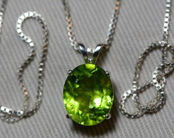"Peridot Necklace, Peridot Pendant 3.78 Carats Appraised At 375.00 On 18"" Sterling Silver Necklace, Genuine Peridot Jewelry August Birthstone"