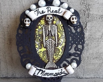 """Skeleton Mermaid Circus side show stand up Sign"""" The Real Mermaids"""",Polymer clay mini frame art, collectible,Covington Creations"""