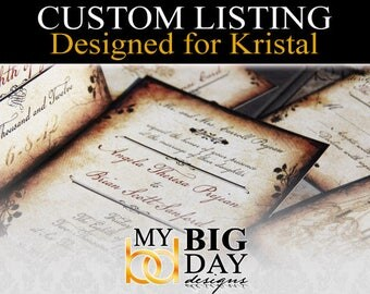 Kristal's Wedding Invitations: 100, double sided printing