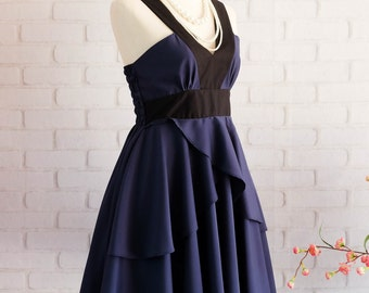 Navy dress Retro vintage dress style party Retro dress dark blue prom dress navy cocktail dress navy bridesmaid dress navy dress