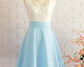 Blue Dress Blue Plaid Dress Blue Prom Dress Blue Party Dress Blue Bridesmaid Dresses Blue Sundress Scoop Neck Dress