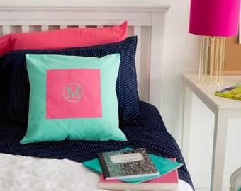 Monogrammed Mint/Hot Pink Pillow Cover