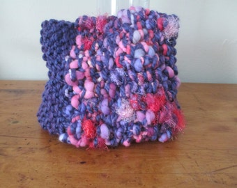 Hand knit cowl super chunky in purple, pink, red, and lavender with FREE SHIPPING to the 50 United States
