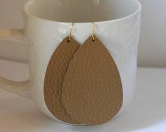 Brown Textured Leather Teardrop Drop Earrings