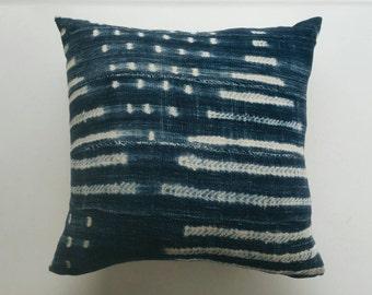 Indigo Mudcloth Pillow Cover - Blue Bohemian Pillow - Modern Bohemian Boho Pillows