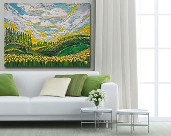Monet Like Painting, Impressionism Art, Impressionistic Landscape, Van Gogh Like Painting, SPRING HILLS, clouds painting, mountain art