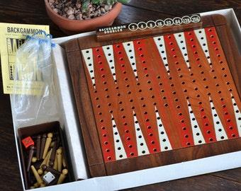 Drueke Backgammon Peg Board Game / Solid Wood 9054 / Vintage Mid Century Modern