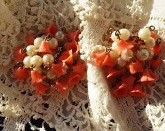 FUN Clip Earrings w/ Faux Coral & Pearl Dangles VINTAGE