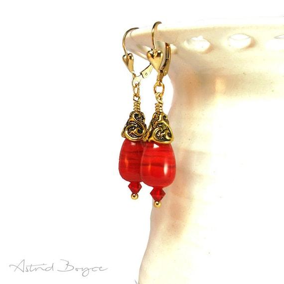 Garden of Love - Free USA Shipping - Drop Earrings Dangle Earrings Gold Earrings Red Earrings Crystal Earrings -Intense Scarlet Red Earrings