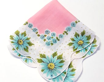 Handkerchief Robin's Egg Blue /Aqua Flowers on a Scalloped Edged White and Pastel Pink Hanky. with Yellow Polka Dots, Mother's Day Gift,