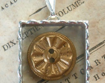 Fiona & The Fig - Vintage - Fancy Brass  Button -  Necklace - Pendant - Jewelry