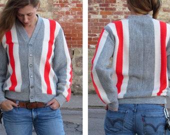 Vintage 50s 60s Retro Gray Unisex Menswear Red White Stripe Acrylic Ribbed Knit V-Neck Button CARDIGAN Sweater OSU - Mens M Medium - L / XL