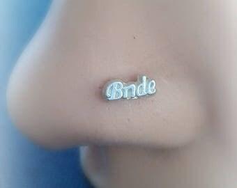 Bride Nose Stud Sterling Silver - Bride Tragus Piercing - Cartilage Stud - Bridal Nose Piercing - 20g 18g Bridal Piercing - Bride Piercing