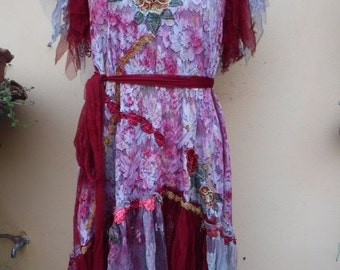 "20%OFFplusREFUND SHIPPING vintage bohemian gypsy formal wedding woodland lace dress,,medium to 40"" bust..."
