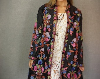 Vintage Silk & Cashmere Hand Embroidered Coat/Long Jacket - Multi-colour on Black - Size L to XL - Boho, Statement garment - NWOT, NOS.