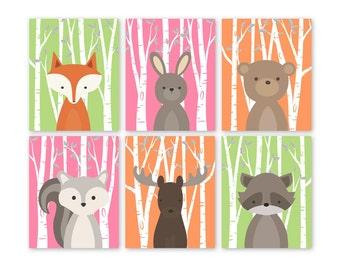 Woodland nursery art set, Woodland nursery, Woodland nursery print, Woodland print, Set of 6