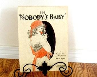 Vintage Sheet Music I'm Nobody's Baby Orange Decor Retro Living Single Woman