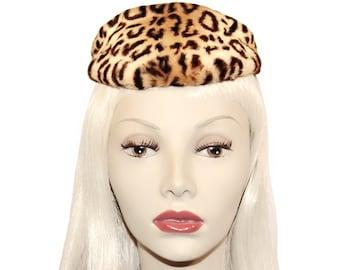 Vintage Leopard Hat, New York Creations, Pinup, Tilt, Newsboy, Avant Garde, Faux Fur, Vintage 1940s