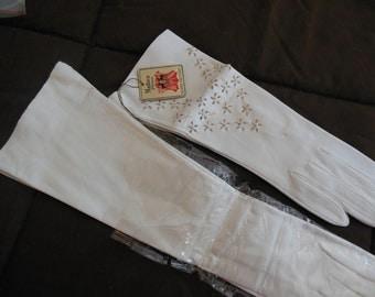 Vintage Long Gloves, Kidskin Leather White, 2 Pair, Packaged