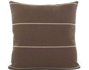 Brown Throw Pillow Cover, 18x18, 20x20, 22x22 Euro or Lumbar, Stripe Brown Pillow, Woven Pillow, Textured Pillow, Accent Pillow, Streamline
