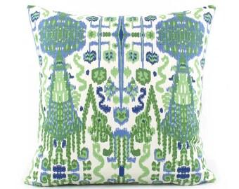 Green and Blue Pillow Cover, 18x18, 20x20, 22x22 Eurosham or Lumbar Pillow, Ikat Throw Pillow, Accent Pillow, Designer Ikat Pillow, Bombay