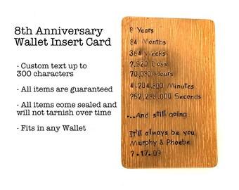 8th Anniversary Gift, Bronze Wallet Insert Card, Antiqued & Hand Stamped, 8th Anniversary Gift, Boyfriend Gift, days, Months, Years