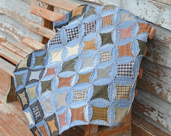 Jean Circle Quilt, Upcycled denim, picnic blanket, blue jean quilt, country lodge rustic decor
