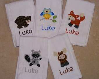 Woodland Animals Burp Cloth Singles for Boys or Girls