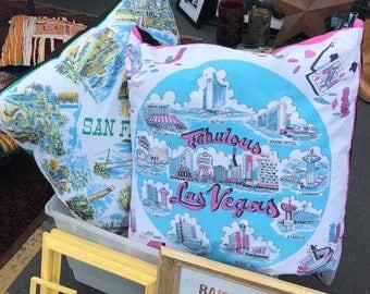 Fabulous Las Vegas Vintage Scarf Pillow