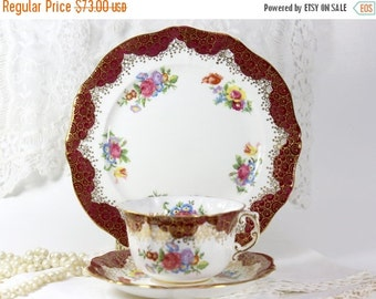 Trio Cup Saucer and Side Plate - Vintage Hammersley Bone China Teacup 11681