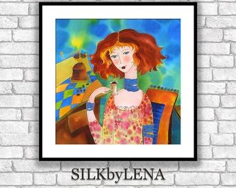 Fine Art Print Giclee art Print  Figurative Art  wall art print silk painting fine art print modern fine art Portrait painting