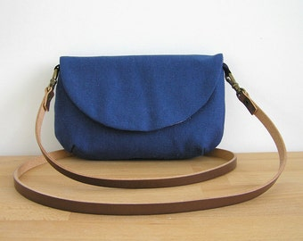 Small Purse in Blue · Crossbody Bag with leather strap · Cotton canvas Coach purse · Wee Purse