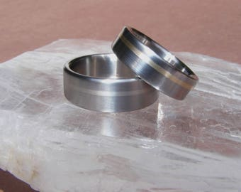 Titanium Offset Golden Solstice Band Ring Wedding Band