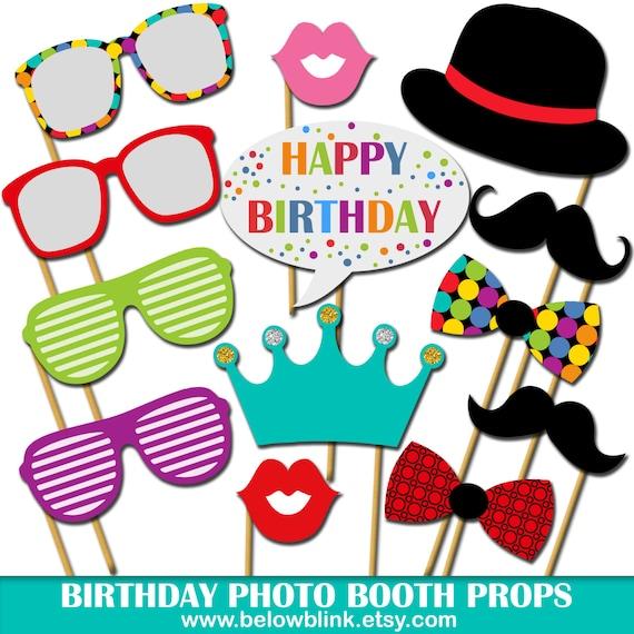 Printable Birthday Photo Booth Props ~ Birthday photo props printable booth happy