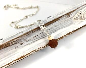 Natural lava stone diffuser necklace
