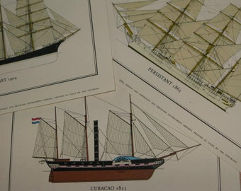 """Circa 1963 Portfolio Of Ships 6 Detailed Prints Small Space Tiny House Art Wonderful Grouping for Nautical Beach Decor 7"""" by 4 3/4"""" to frame"""