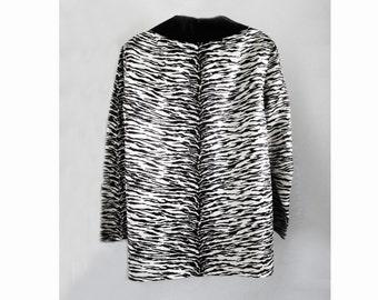 1970s-80s Satin Animal Print short Coat / Jacket / tiger / zebra / black and white