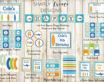 SALE Surfing Boy Beach Party Package Printable DIGITAL Party