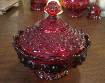 Fenton Ruby Red Hobnail Candy Dish