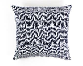 "ON SALE Quadrille Alan Campbell Petite Zig Zag Pillow- in New Navy on White - 22 X 22"" Pillow (Both Sides)"